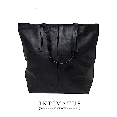 INTIMATUS 真皮 牛皮大容量托特包 黑色