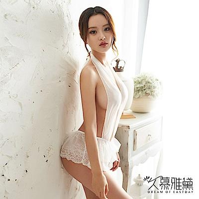 情趣睡衣 柔紗掛頸蕾絲短裙連體衣。白色 久慕雅黛