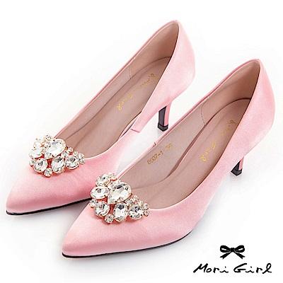 Mori girl 2WAY可拆式水鑽緞面中低跟鞋 粉