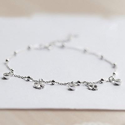 米蘭精品 925純銀腳鍊-幸運四葉草水鑽