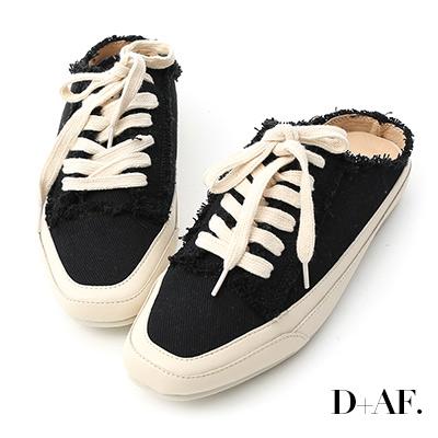 D+AF 自在主打.帆布抽鬚方頭休閒穆勒鞋*黑