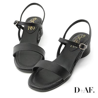 D+AF 韓國同步.一字繫踝橢圓跟涼鞋*黑