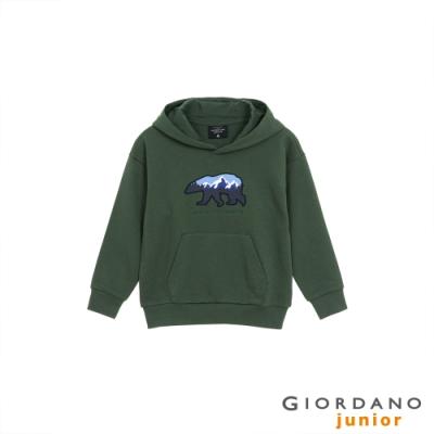 GIORDANO 童裝ADVENTURE連帽T恤 - 42 墨綠