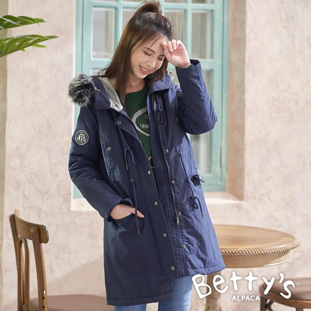 betty's貝蒂思 連帽軍風鋪棉大衣(深藍)