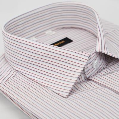 【金‧安德森】白底紅灰條紋窄版長袖襯衫fast