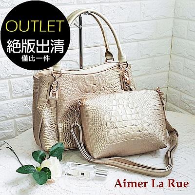 Aimer La Rue 細緻蛇皮紋兩件組手提側背包(金色)(絕版出清)