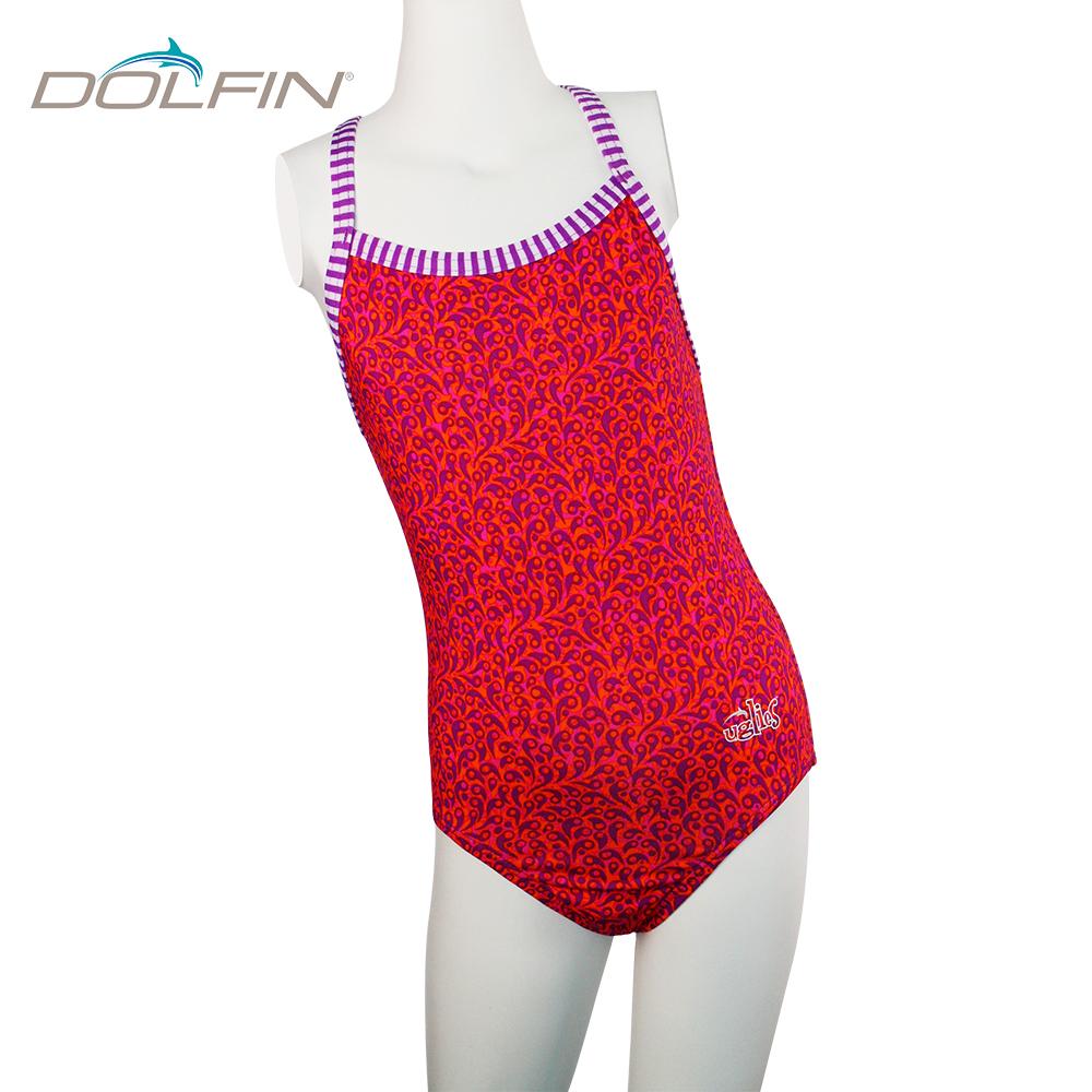美國DOLFIN 女童運動連身泳裝 Pom Pom Pink