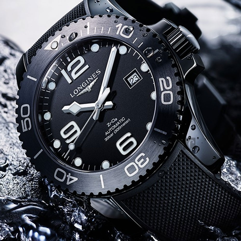 LONGINES 浪琴 深海征服者浪鬼陶瓷潛水機械錶(L37844569)-陶瓷黑/43mm