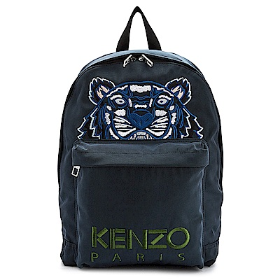 KENZO Tiger Canvas 品牌Logo刺繡老虎圖騰帆布後背包 藍綠色