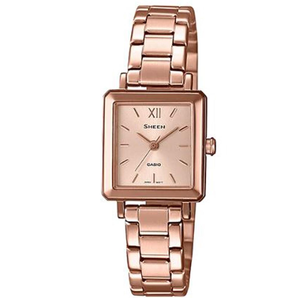 SHEEN 雅致方形三針顯示奢華玫瑰金腕錶(SHE-4538PG-4A)金/21.6mm