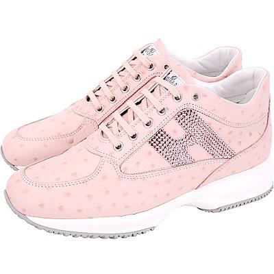 HOGAN Interactive H 鑽飾鴕鳥紋牛皮繫帶休閒鞋(粉色)