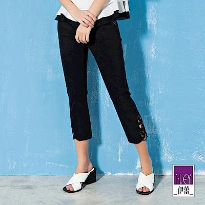 ILEY伊蕾 彈力修身縷空刺繡裝飾窄管褲(黑)
