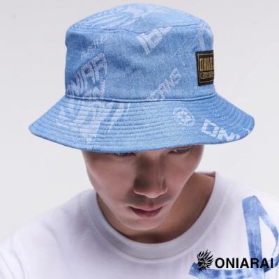 鬼洗 BLUE WAY – 大緹織3D鬼頭丹寧漁夫帽(淺藍)