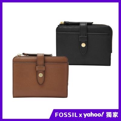 【FOSSIL情人】Fiona 金釦設計多卡拉鍊零錢短夾 (兩色任選)