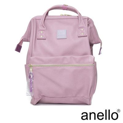 anello 輕質皮革口金後背包  粉紫色 L尺寸