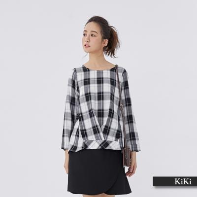 【KiKi】經典秋冬格紋長袖-襯衫(二色)