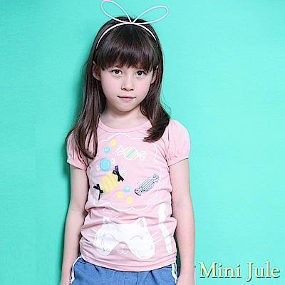 Mini Jule 上衣 立體糖果貓咪印花公主袖上衣(豆粉)