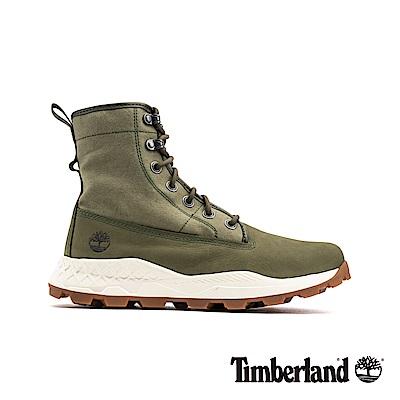 Timberland 男款軍綠磨砂革配針織布魯克林休閒靴|A2291