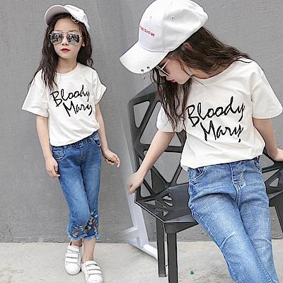 小衣衫童裝    小中大童簡約字母印花白色短袖T恤