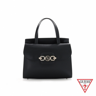 GUESS-女包-都會時尚純色飾扣手提包-黑 原價3690