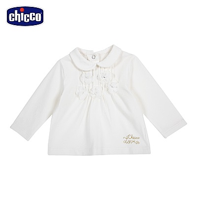 chicco-童話系列-立體花有領長袖上衣-米(12-24個月)