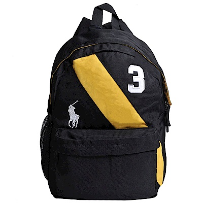 POLO Ralph Lauren 品牌LOGO圖騰刺繡尼龍後背包(黑黃槓/小)