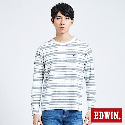 EDWIN 職人手作 反面配條長袖T恤-男-米白