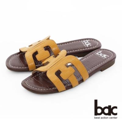 【bac】繽紛曼谷 -壓紋一片式鏤空繽紛色調平底拖鞋-黃色