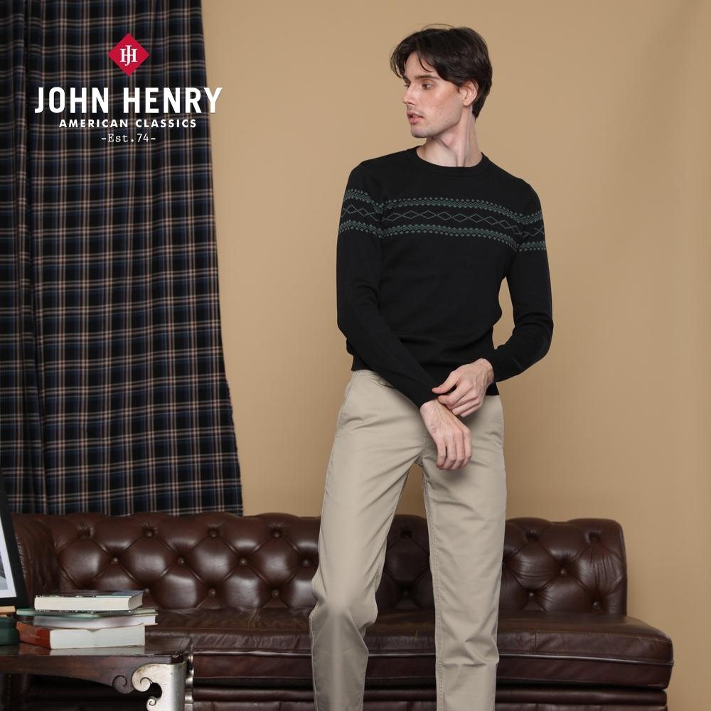 【JOHN HENRY】帶狀幾何印花針織衫-兩色選