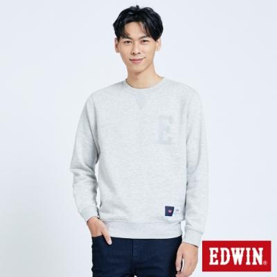 EDWIN 復古毛線繡內刷毛 厚長袖T恤-男-淺灰色