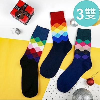 HADAY 男襪 漸層菱形長筒襪 紳士襪 3雙入 吸濕透氣 中長筒襪 細膩好穿