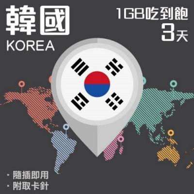 【PEKO】韓國上網卡 3日高速4G上網 1GB流量吃到飽 優良品質