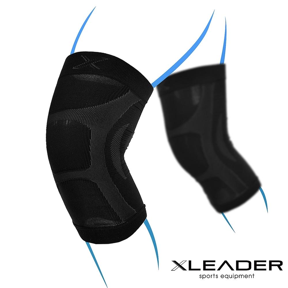 LEADER XW-07漸進式壓力彈性透氣護膝腿套 黑色 2只入-急