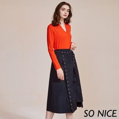 SO NICE個性金屬腰帶圍裹式長裙