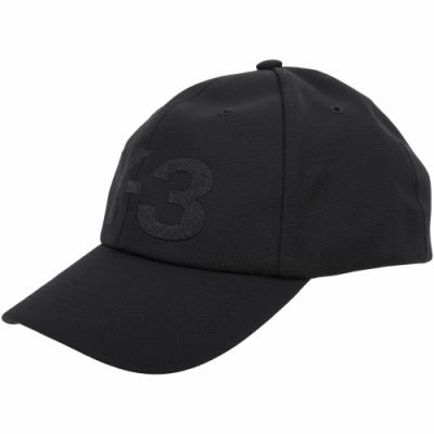 Y-<b>3</b> LOGO 刺繡字母黑色彈性纖維棒球帽