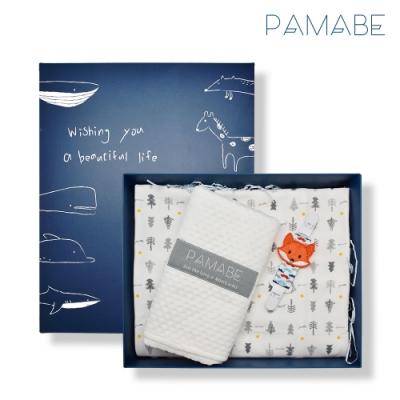 【PAMABE】狐狸夥伴彌月獻禮 (手帕夾+外出尿布墊+寶寶涼被)