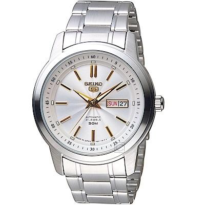 SEIKO精工5號21石盾牌機械腕錶(SNKM85J1)-銀白