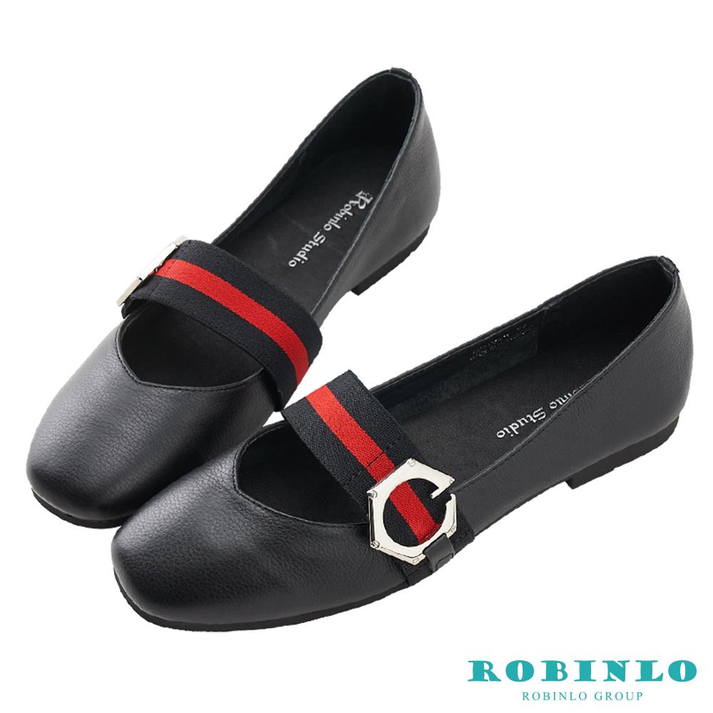 Robinlo 文藝條紋織帶牛皮方頭鞋 黑