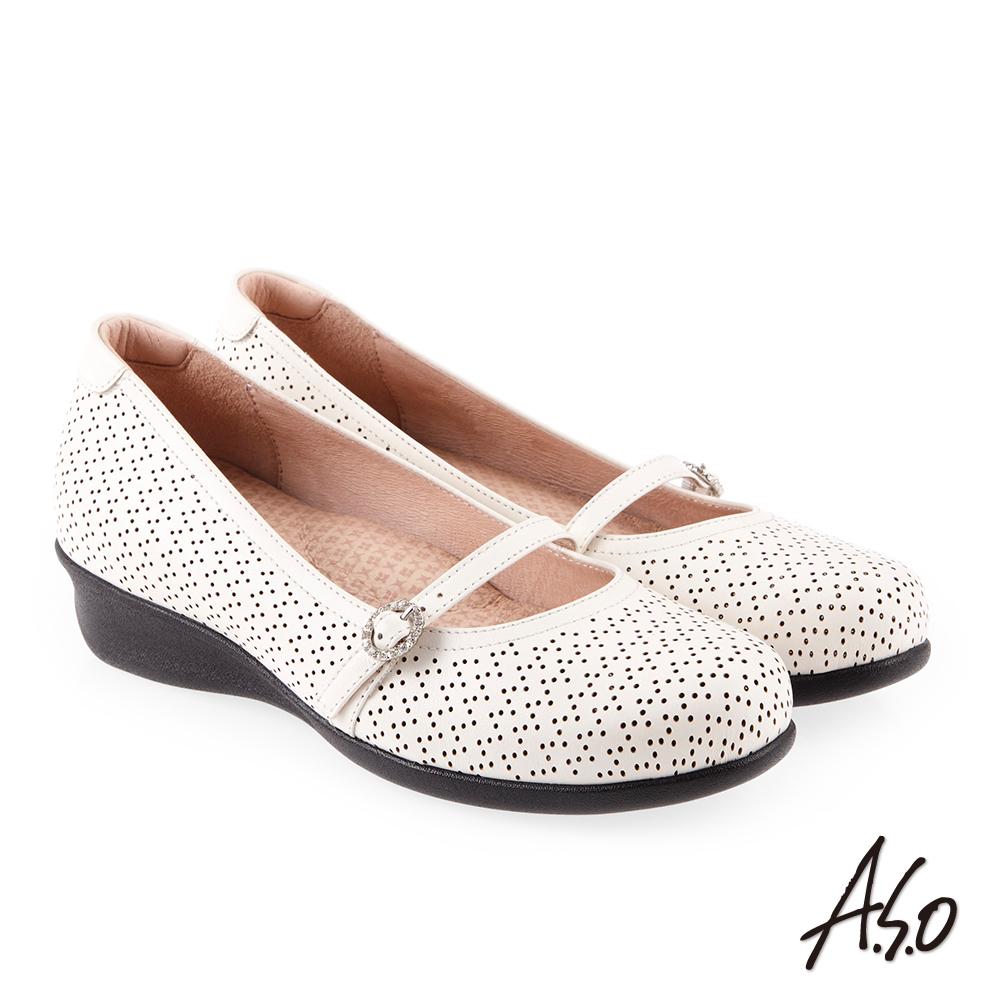 A.S.O 舒適典雅 全真皮圓楦休閒氣墊鞋 白
