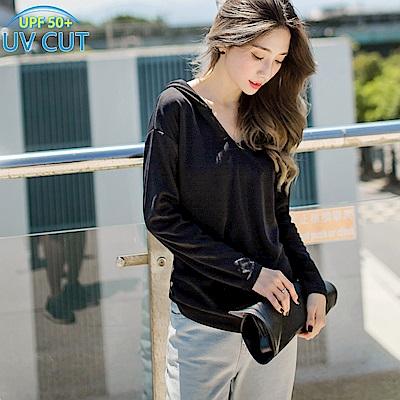 台灣製造~吸濕排汗抗UV長袖連帽運動上衣-OB大尺碼