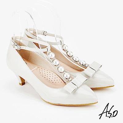 A.S.O 百變女伶 時尚摩登都會低跟鞋 淺灰