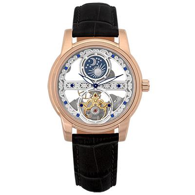 Valentino Coupeau 范倫鐵諾 古柏 日月相鏤雕機械腕錶 (玫瑰金/黑帶)