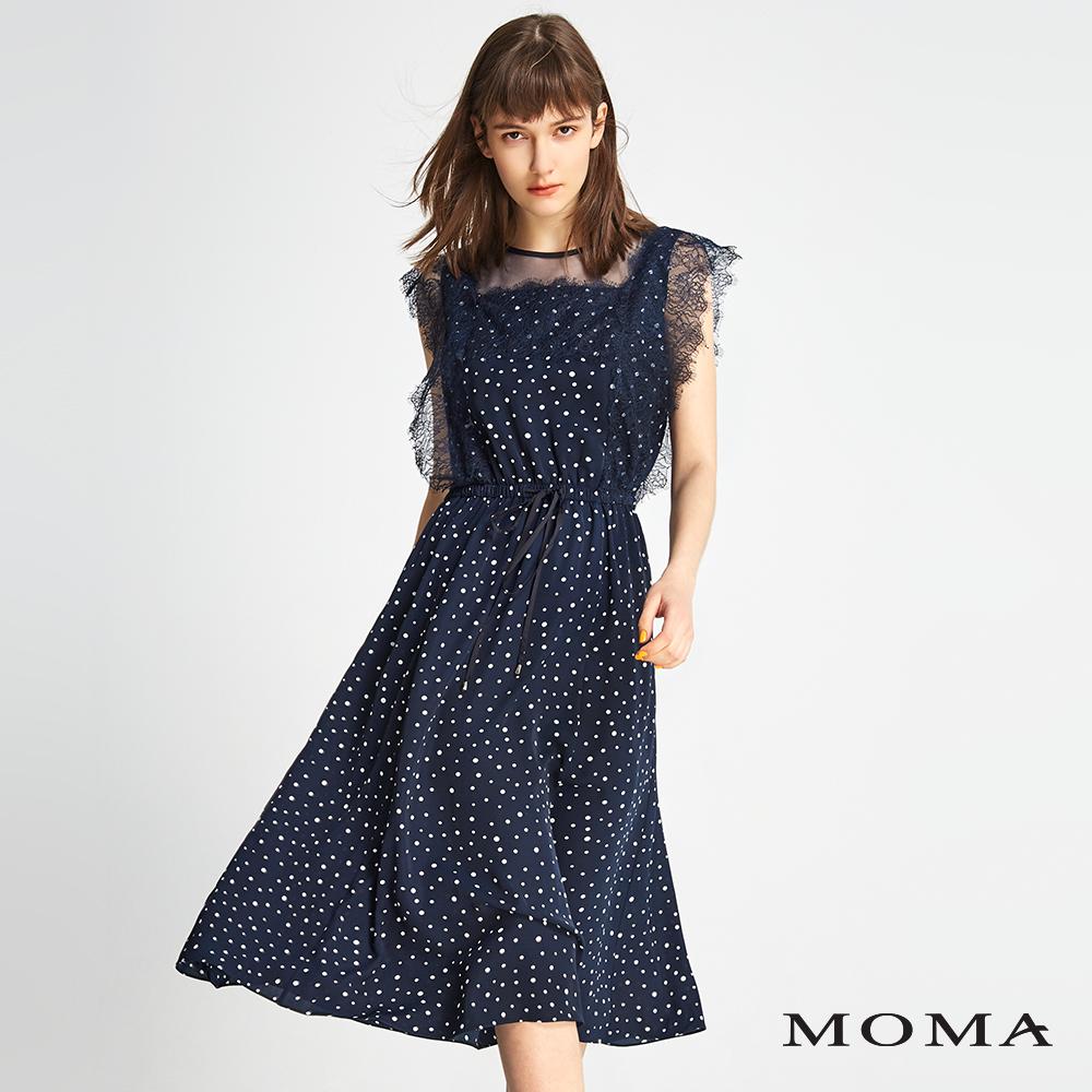 MOMA 點點雪紡拼接蕾絲洋裝