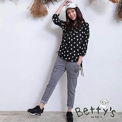 betty's貝蒂思 復古風腰間鬆緊抽繩長褲(深灰)