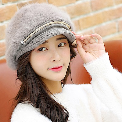 EHD 兔毛內加絨帽沿造型針織保暖貝雷毛帽(5色任選)