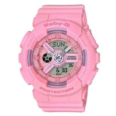BABY-G 心花朵朵開粉嫩氣息設計休閒錶( BA-110-4A1)玫瑰粉/43.3mm