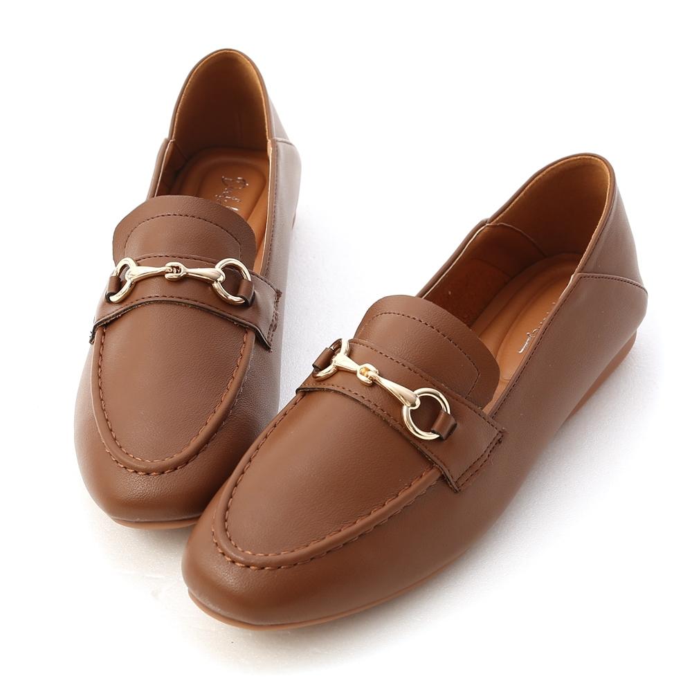 D+AF 學院風範.超軟Q馬銜釦樂福鞋*棕