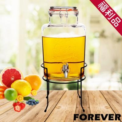 (福利品)日本FOREVER 夏天必備派對玻璃果汁飲料桶(含桶架)5L