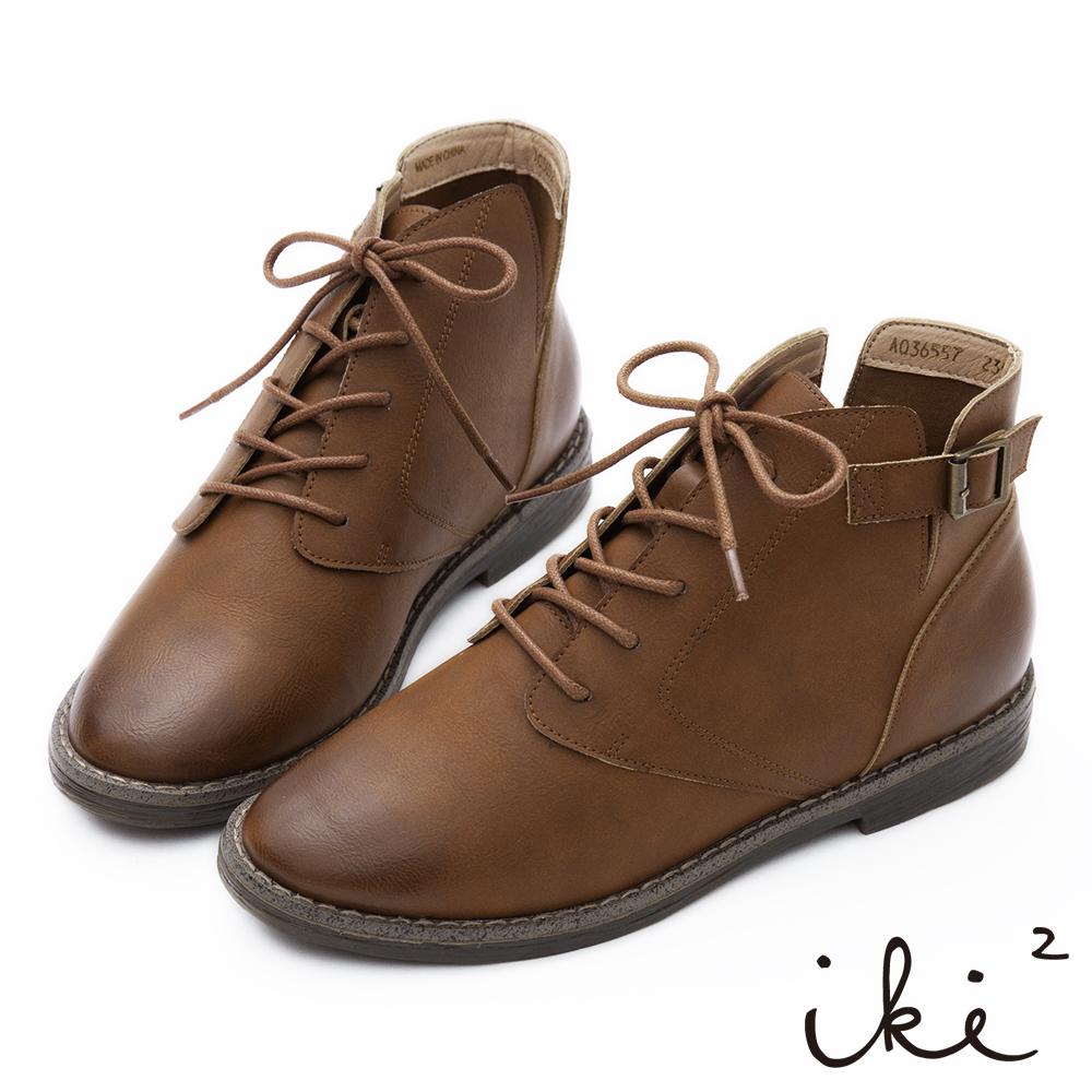 iki2 擦色綁帶V口側方釦短靴-咖