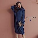 東京著衣-KODZ 網美最愛高領修身長版上衣針織洋裝(共二色)